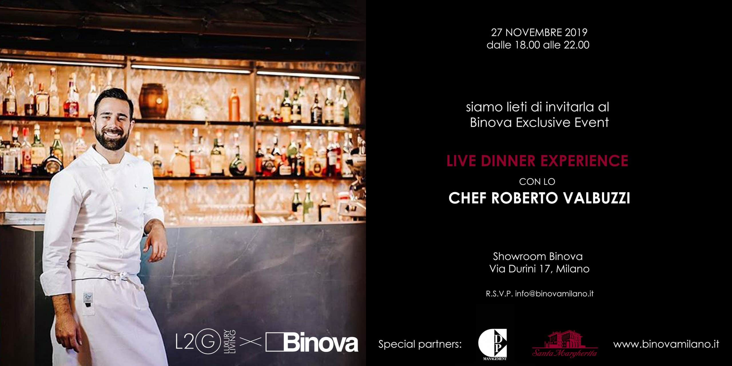 Binova live dinner experience Chef Roberto Valbuzzi